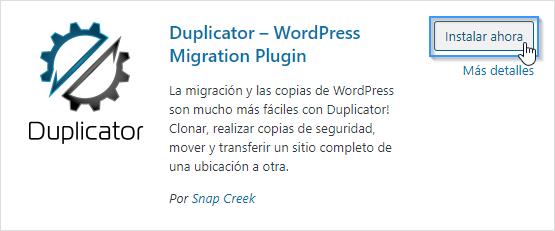 Instalar el plugin Duplicator en WordPress