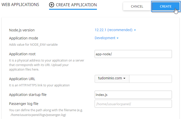 Inotroducir los datos para ejecutar una aplicación Node.js