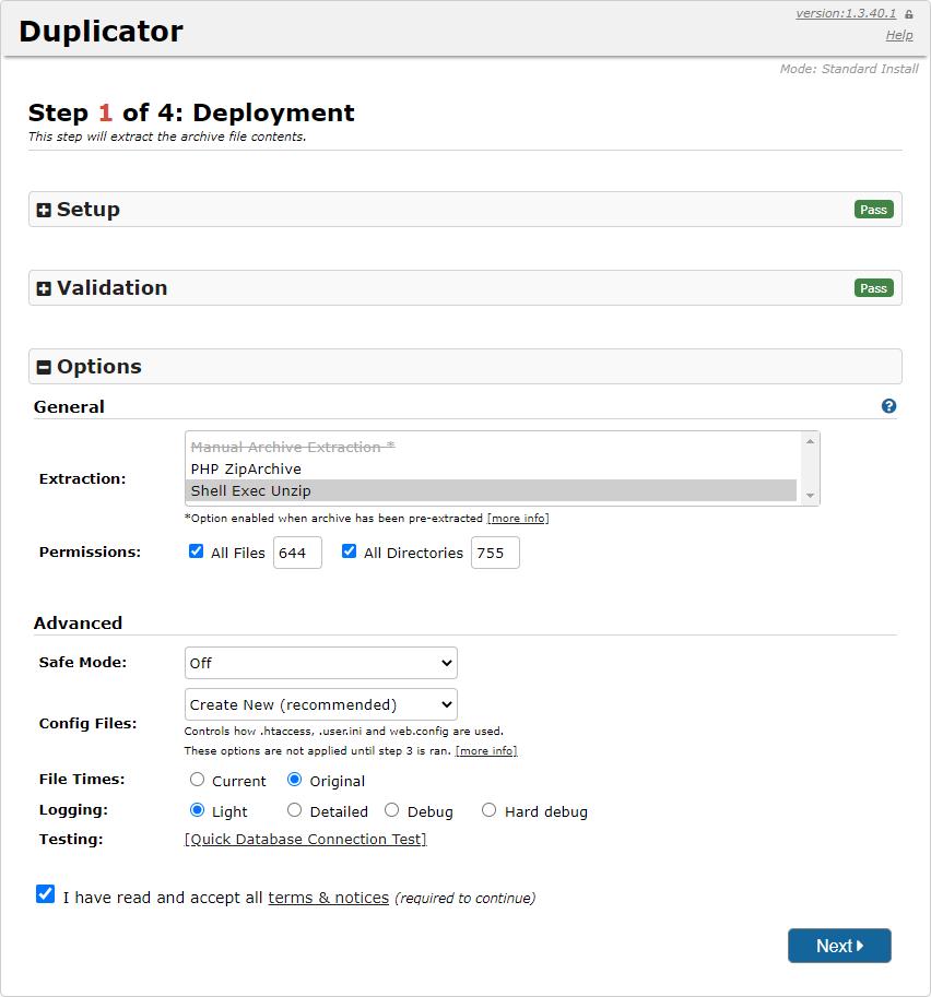 Opciones del plugin Duplicator en WodPress