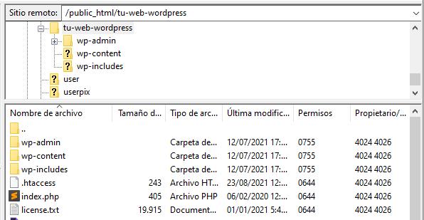 Acceder al directorio de una web a través de FTP