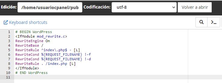 Restablecer el código del fichero .htaccess
