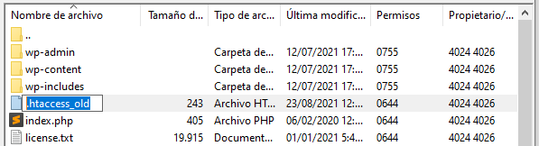 Renombrar .htaccess_old a través de FTP