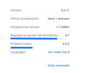 Consejos antes de instalar un plugin en WordPress Revisar compatibilida