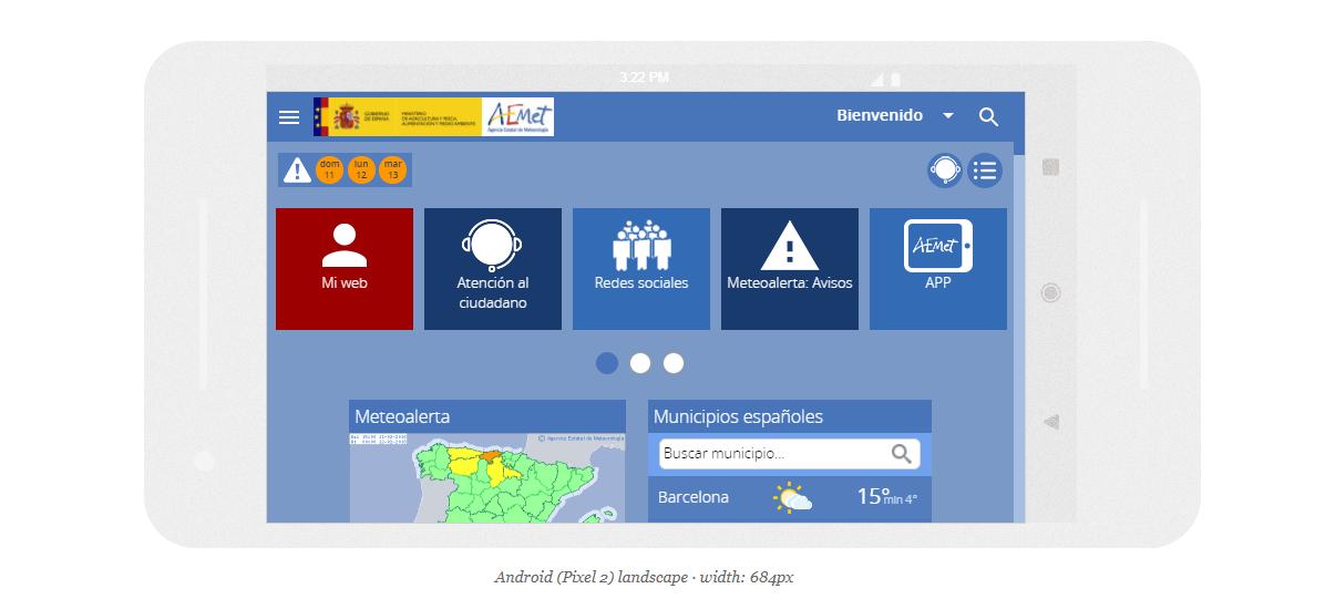 Ejemplo de cómo se ve la web de Aemet en dispositivos móviles con Responsinator