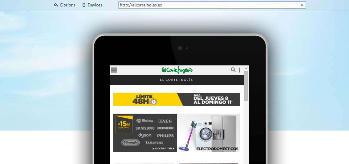 Ejemplo de cómo se ve la web de El Corte Inglés en dispositivos móviles con Mobiletest