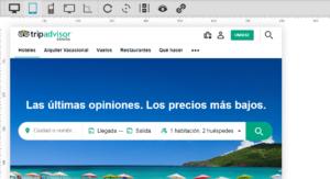 Ejemplo de cómo se ve la web de Tripadvisor en dispositivos móviles con Screenfly