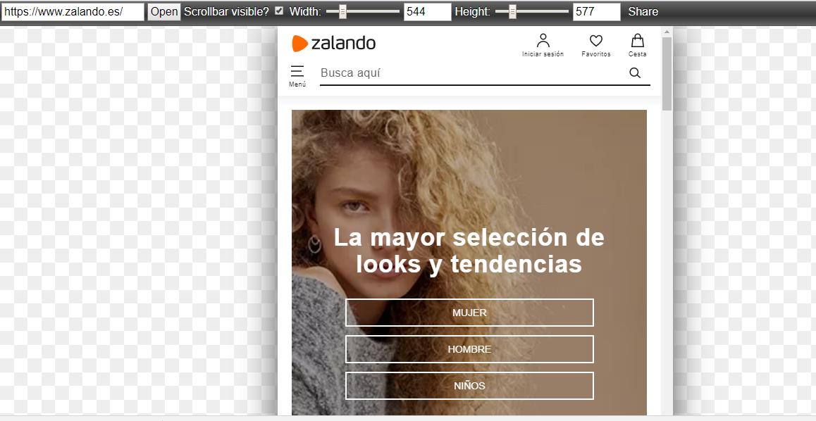 Ejemplo de cómo se ve la web de Zalando en dispositivos móviles con Responsivepx