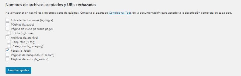 Nombres de archivos aceptados y URLs rechazadas en WP Super Cache