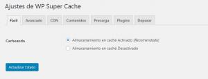 Configuración fácil de WP Super Cache