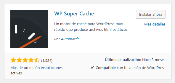 Instalar WP Super Cache en WordPress