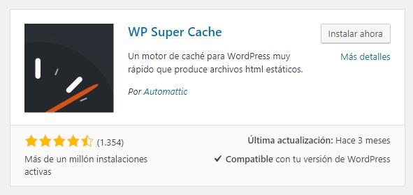 Instalar WP Super Cache en WordPress