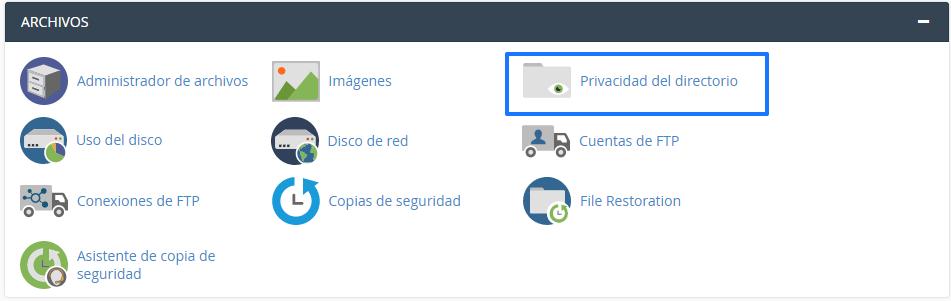 Privacidad del directorio cPanel