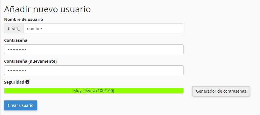 Añadir usuario a la base de datos