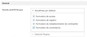 Configuración de Google Captcha