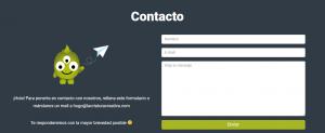 Ejemplo de formulario de contacto de La Criatura Creativa
