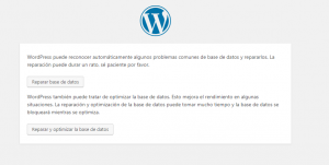 Reparar base de datos en WordPress