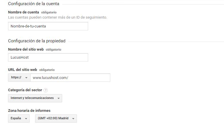 Configuración de la cuenta de Google Analytics