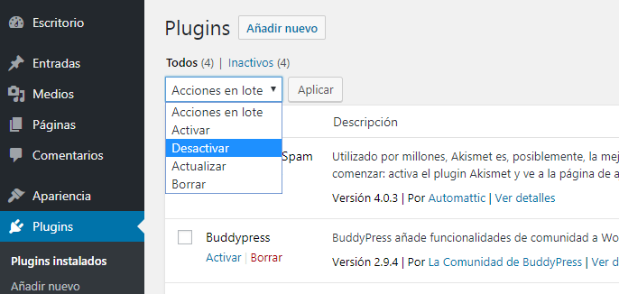 Desactivar plugins en WordPress
