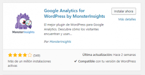 Plugin Google Analytics for WordPress by MonsterInsights