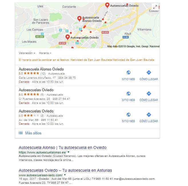 Ejemplo de resultados de una búsqueda local