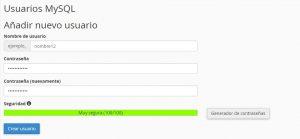 Añadir nombre de usuario y contraseña