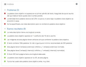 Ejemplo de análisis de Yoast SEO WordPress