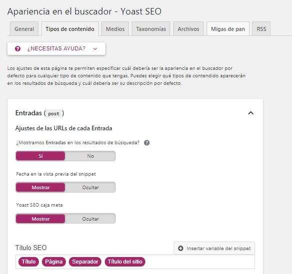 Sección Apariencia en el buscador de Yoast SEO