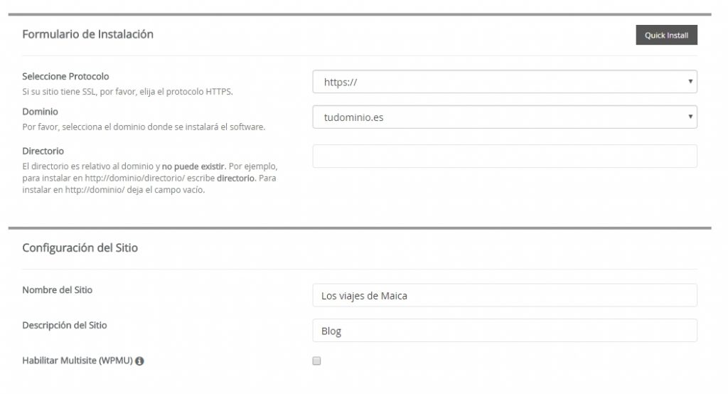 Ajustes iniciales de WordPress