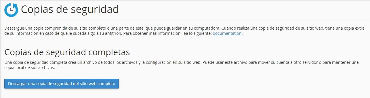 Crear una copia de seguridad desde cPanel
