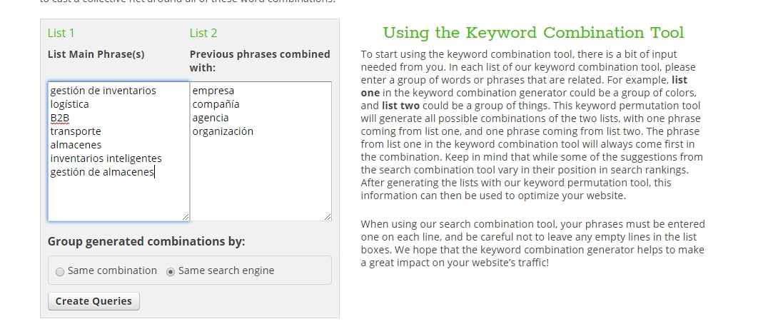 Buscar keywords con Ninja Search Combination Tool