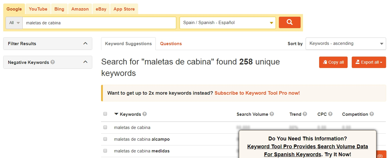 Cómo buscar keywords con Keword Tool