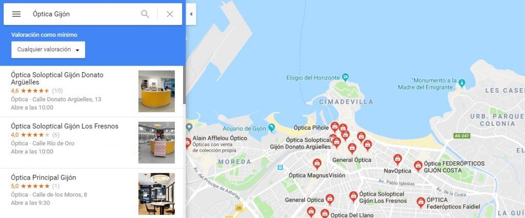 Ejemplo de empresa en Google Maps