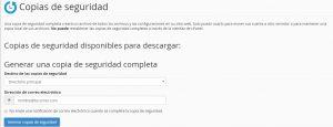 Generar copia de seguridad en cPanel