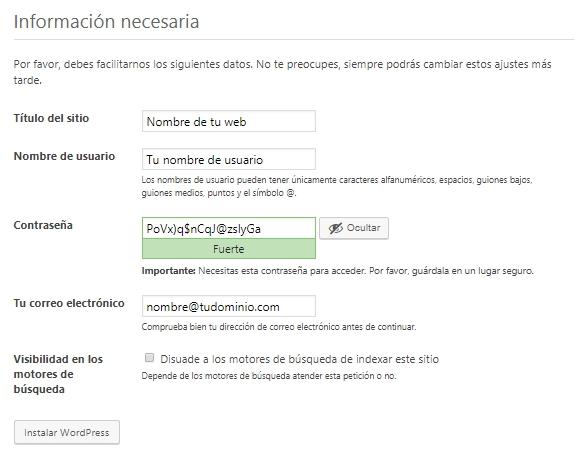 Información necesaria para completar la instalación de WordPress