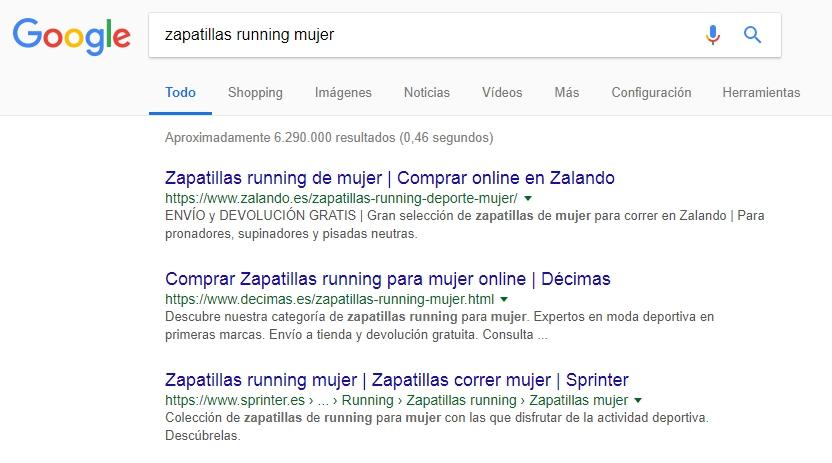 Palabras clave en los resultados de búsqueda de Google