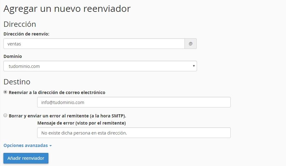 Añadir reenviador de cuentas de correo en cPanel