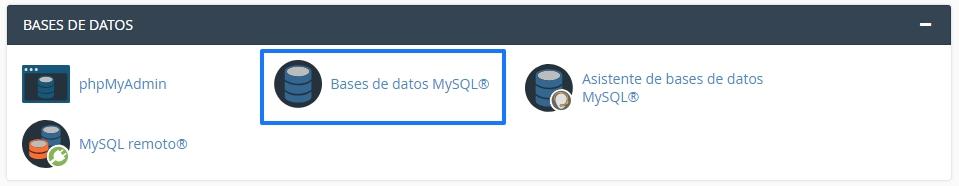 Sección Base de datos en cPanel
