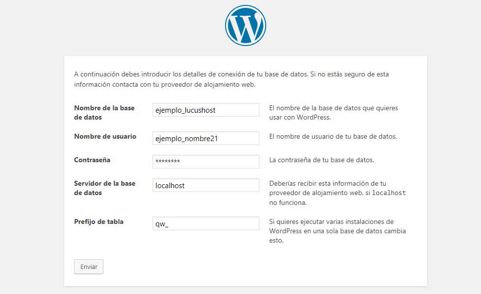 ultimo paso instalacion wordpress
