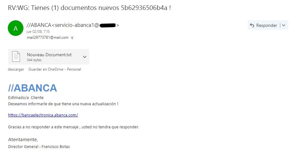 Ejemplo de un email que contiene phishing