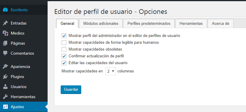 Configurar User Role Editor en WordPress