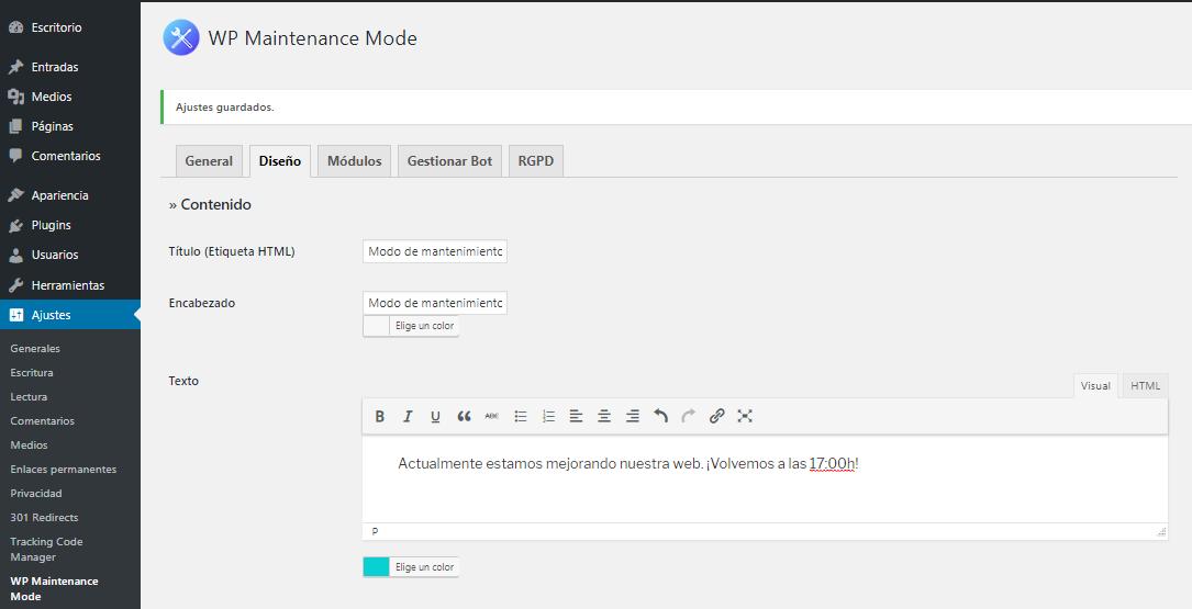 Pestaña Diseño WP Maintenance Mode