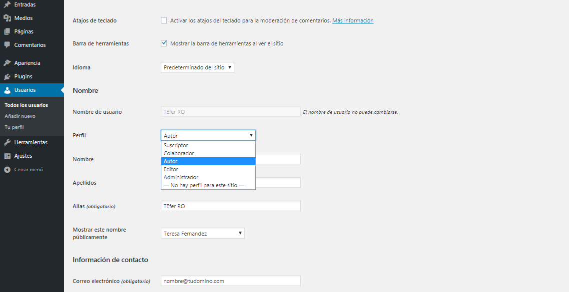 Modificar roles de usuario en WordPress