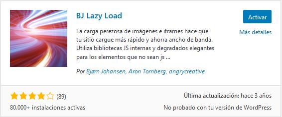 Instalar BJ Lazy Load en WordPress