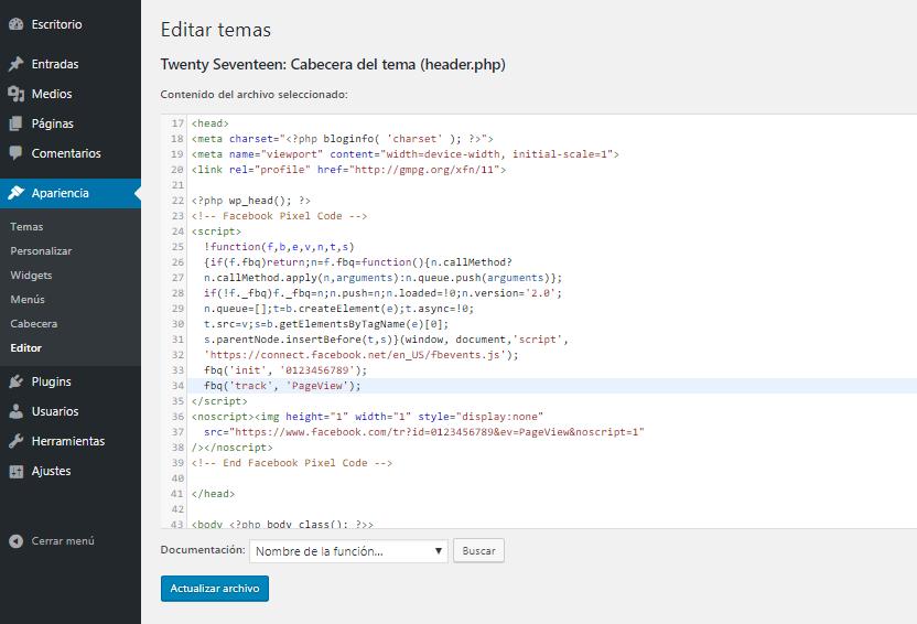 Cómo instalar el píxel de Facebook en WordPress manualmente