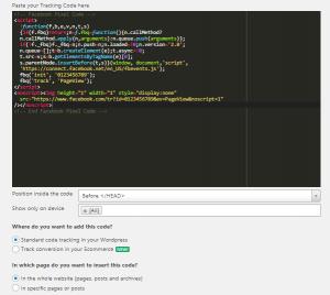 Instalar el píxel de Facebook en WordPress con Tracking Code Manager