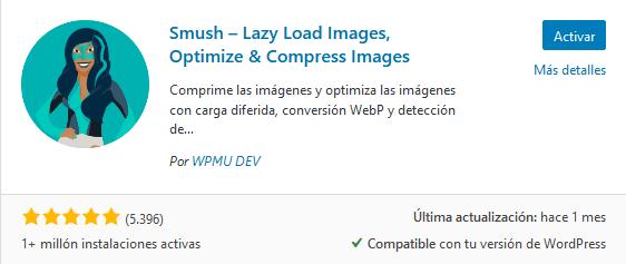 Instalar el plugin Smush – Lazy Load Images, Optimize & Compress Images en WordPress