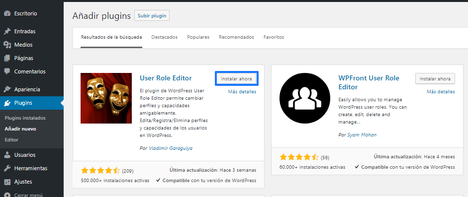 Instalar User Role Editor en WordPress