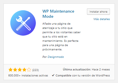 Instalar WP Maintenance Mode