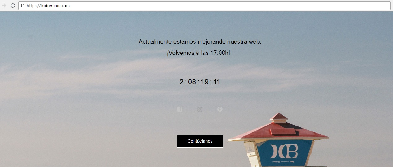 Página de ejemplo modo mantenimiento WordPress