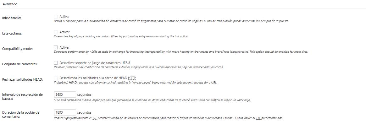Configuración avanzada de Cache de Base de Datos W3 Total Cache de WordPress